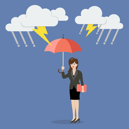 debt: Business woman with umbrella protecting from thunderstorm. Business concept Illustration
