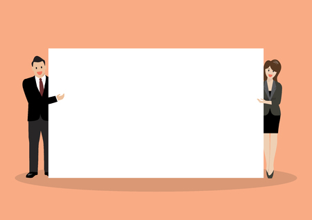 Businessman and woman pointing to the billboard. vector illustration 矢量图像
