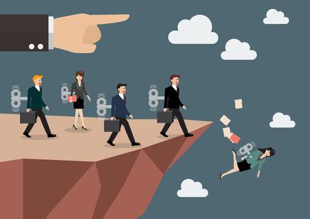 Meccaniche uomini e donne d'affari a piedi dritto nell'abisso. concetto di business