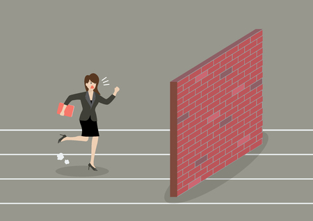 stopped: Business woman race to dead end. Business concept Illustration