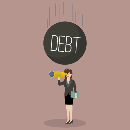 careless: Heavy debt falling to careless business woman. Business finance concept Illustration