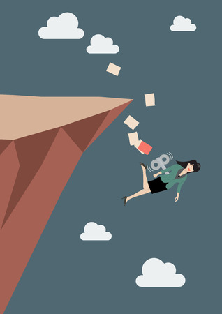 leap: Mechanical business woman fall into the abyss. Business concept Illustration