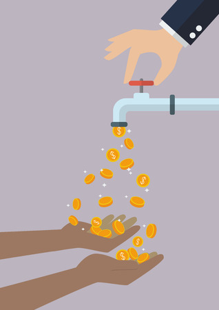 cheat: Poor hands are carrying coins falling out of the water tap. Business income concept Illustration