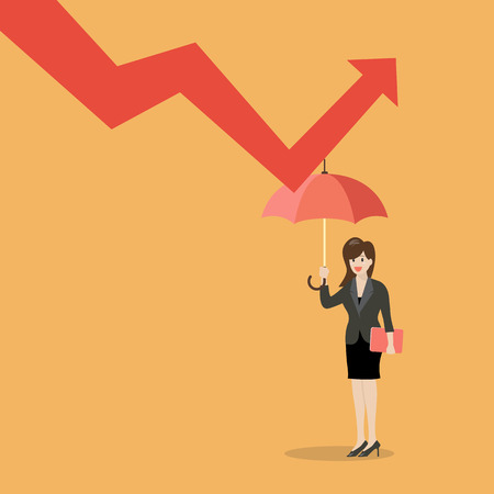 graph down: Business woman with umbrella protecting from graph down. Business concept