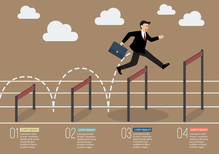 advantages: Businessman jumping over higher hurdle infographic. Business concept