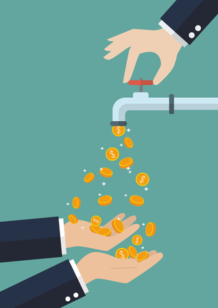 carrying out: Hands are carrying coins falling out of the water tap. Business income concept