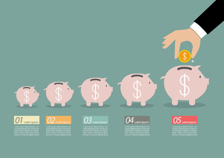 adding: Step of business hand insert coin into the piggy bank infographic. Financial business plan