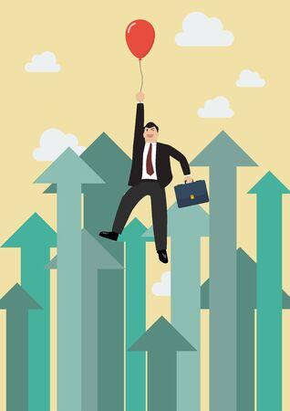 El hombre de negocios que vuelan con el globo rojo contra el crecer flechas. Concepto de negocio