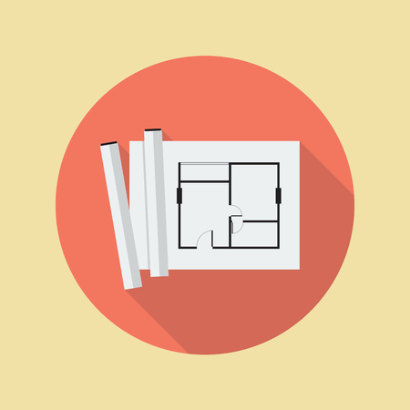 rolled: Architectural blueprint flat icon with long shadow