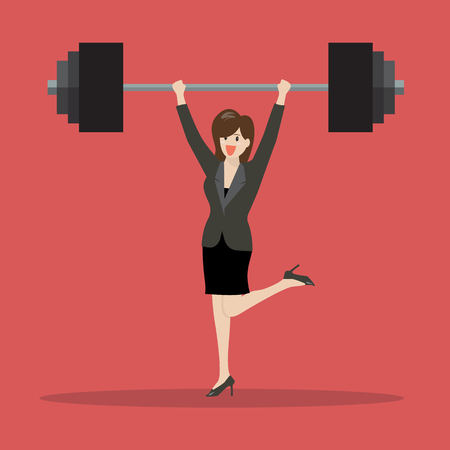 heavy weight: Business woman lifting a heavy weight. Business concept Illustration