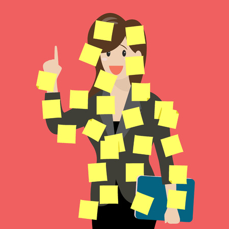 forgetful: Sticky notes girl. Vector Illustration