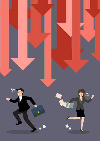 run down: Business people run away from graph down arrows. Business concept
