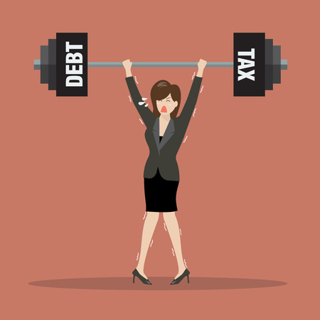 fitness woman: Business woman lifting a heavy weight of debt and tax. Business concept