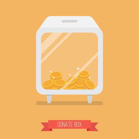 needy: Donate box flat icon with long shadow
