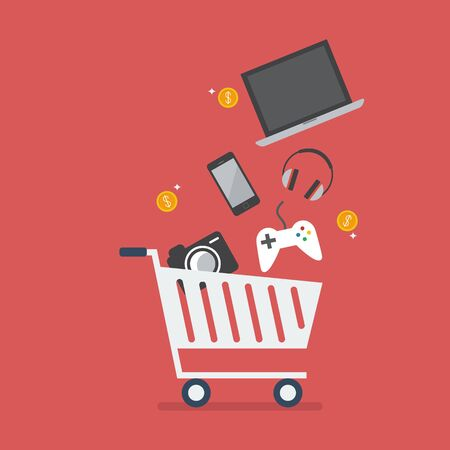 add to cart: Add gadgets to cart. Shopping concept