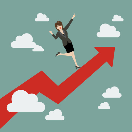 business woman standing: Business woman standing on a growing graph. Business Growth Concept