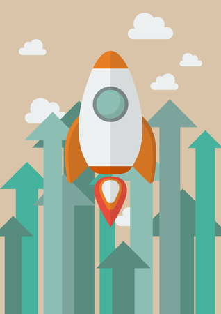Rocket flying into the sky against growing up arrows. Business concept