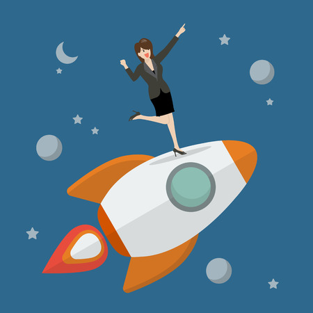 business woman standing: Business woman standing on a rocket. Project start up new business. Illustration