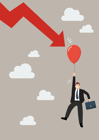 graph down: Falling graph down to pop the balloon of businessman. Business concept