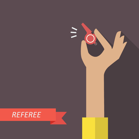 referee: Referee hand holding a whistle. Vector illustration