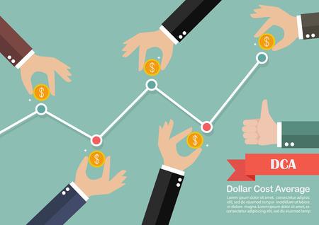 business metaphor: Dollar cost average investment concept. Business metaphor Illustration