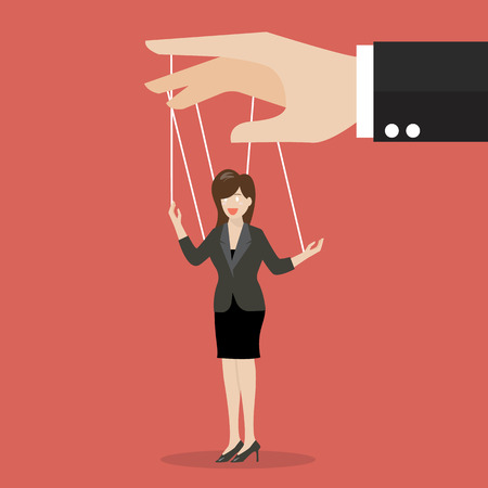 manipulate: Business woman marionette on ropes. Business manipulate behind the scene concept Illustration