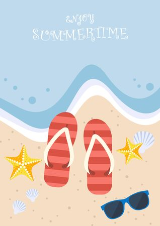 sunglasses recreation: Summertime on the beach. Slippers, sunglasses, starfish and shell on the beach