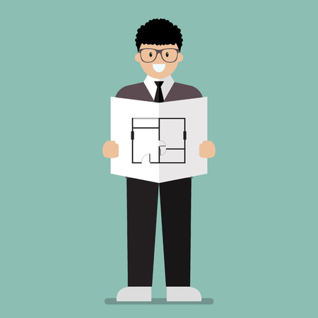 industrial workers: Architect flat cartoon. Industrial Workers Project Manager Illustration