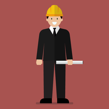 industrial workers: Engineer flat cartoon. Industrial Workers Project Manager