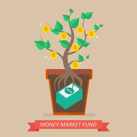 Passief inkomen uit geldmarktfonds. Business concept