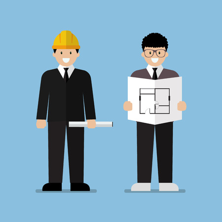 industrial design: Engineer and architect flat cartoon. Industrial Workers Project Manager