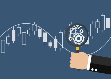 bullish: Hand holding magnifying glass with candle stick graph chart of stock market. vector illustration Illustration