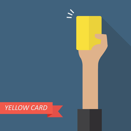 yellow card: Hand of referee showing yellow card. Vector illustration Illustration