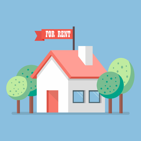 house for rent: House for rent flat icon. Business concept Illustration