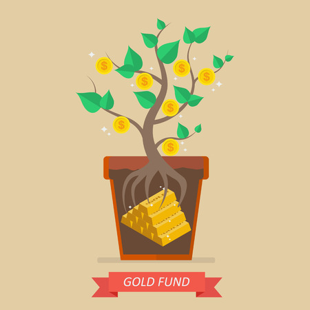 passive: Passive income from gold fund. Business concept