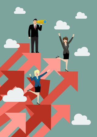 executive search: Business man and woman standing on red graphs up. Business concept Illustration