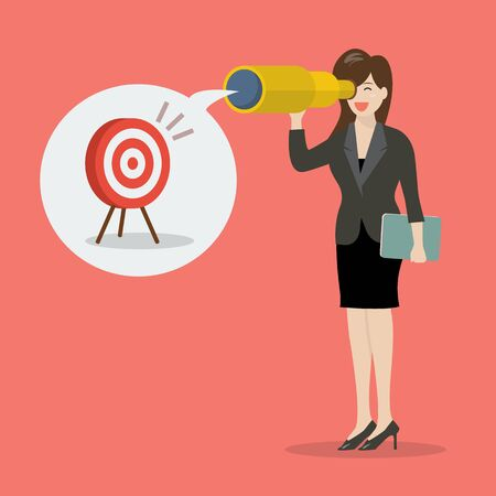 smart investing: Business woman looking for business target. Business vision