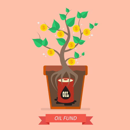 passive earnings: Passive income from oil fund. Business concept