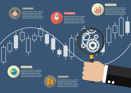 bullish: Hand holding magnifying glass with candle stick graph chart of stock market infographic. vector illustration