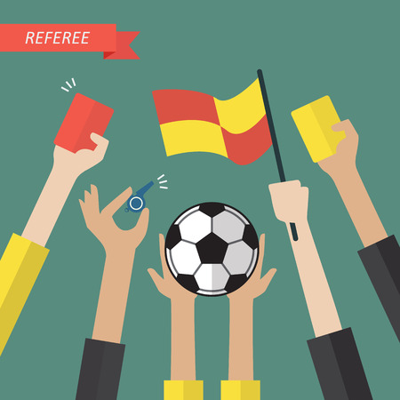 Referee hand holding a soccer icons. Vector illustration Illustration