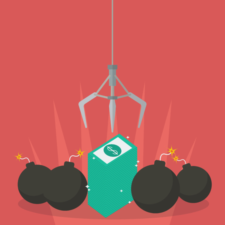 grabber: Robotic claw clutching a money against bomb. Business risk Illustration