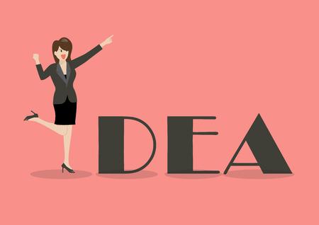 cheer leader: Business woman idea concept. Vector Illustration
