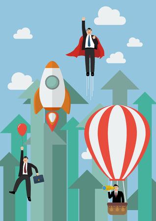 Negocios volando contra la competencia crecer flechas. Concepto de negocio
