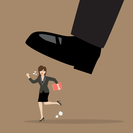 mobbing: Business woman run away from stomping foot. Business concept
