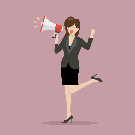 mega phone: Business woman with a megaphone. vector illustration