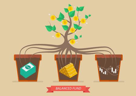 Le revenu passif du fonds équilibré. Concept d'affaire Vecteurs