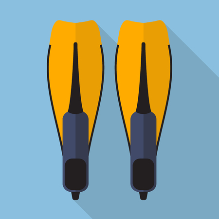 flippers: Swimming flippers flat icon with long shadow