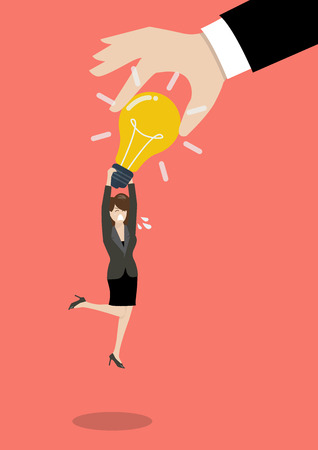 stealing: Hand stealing idea light bulb from business woman. Idea concept