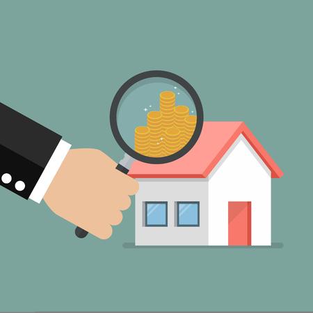 money symbol: Money profit from real estate. Business concept Illustration