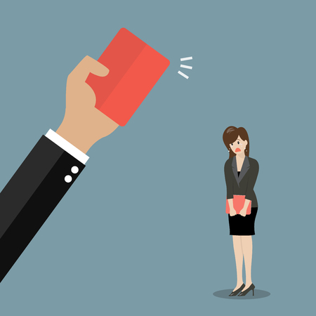 Hand of boss showing a red card to woman employee. Business concept